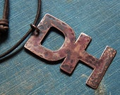 Custom Desert Hearts Pendant necklace - rustic distressed - antique fired patina