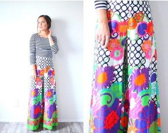 20% OFF HALLOWEEN SALE Vintage maxi floral gaucho pants // retro neon pink floral maxi skirt // jumper pantsuit long skirt // floor length s