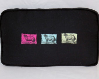 Black Sheep Pillow, Linen with Pink Aqua Green Lambs, Hand Dyed Toile, Box Shape Rectangle, Cover and Insert Included, Ready Ship, OOAK