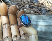 RESERVED for Claudia- (Payment #1)Electroformed Blue Flash Labradorite Ring size 6  | Rose Cut Labrodorite Cabachon Copper Ring