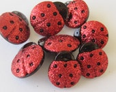 Red Glitter Ladybugs Craft Sewing Embellishment Buttons Dress It Up