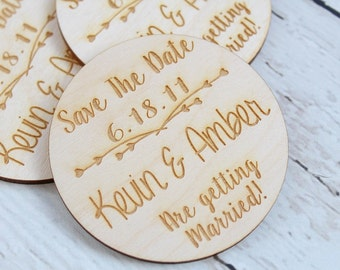 Custom Wood Save The Date Circles Engraved Save The Date Magnets Rustic Save The Date