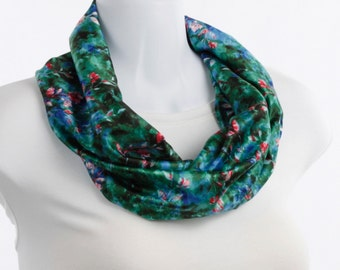 Infinity scarf Striking Teal Floral Cobalt Blue, Bright Pink, Teal Floral ~ SK219-S5