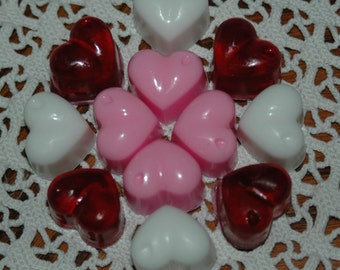 Heart Soap ~ Mini Heart Soaps ~ Valentine's Soaps in Pink, Red, and White ~ 12 Pretty Heart Hand Soaps ~ Party Favor Heart Soaps