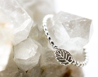 tiny leaf ring|sterling silver bead band