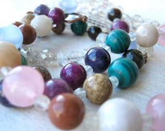 Multi colour stones ADJUSTABLE necklace - triple strand, natural, pink, green, white, brown, blue, indigo, purple, magenta