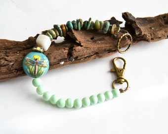 DRAGON FLY BRACELET Artisan Ceramic Dragonfly Bead African Turquoise Chip Antique Brass Clip Bracelet