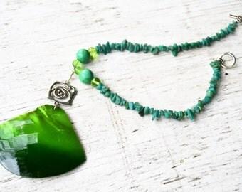 GREEN SHELL Turquoise Amazonite Large Pendant Statement Necklace