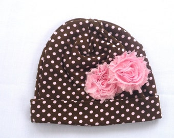 Beanie Hat Baby Girl / Brown and Pink Polka dot