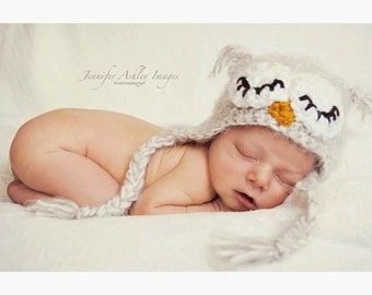 Newborn Owl Hat Photo Prop or Halloween Costume-Crocheted in your choice of colors