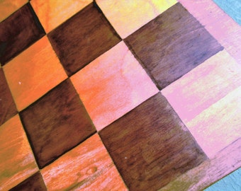 Vintage Hand Stained Folding Chessboard.  Y-074