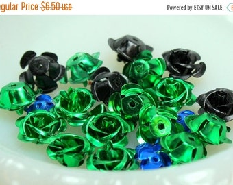 MOVING SALE Half Off Lot of Vintage  and Salvaged Colorful Metal Flower Jewelry Cabochons
