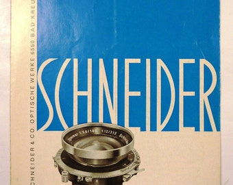 Vintage Schneider Symmar 1:5.6 180mm Large Format Lens Pamphlet