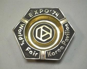 Expo 74 World's Fair Spokane WA - Souvenir Brass Ash Tray Korea Pavilion