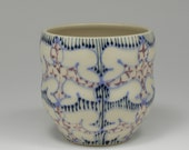 Ceramic Tumbler - Juice Cup, Yunomi - Handmade with Sky Blue, Navy and Purple Pattern
