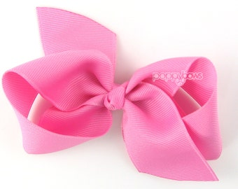 NEW STYLE - Loopy Pinwheel Hair Bow - Pixie Pink Hairbow 3.5 Inch Solid Color Boutique Bow for Baby Toddler Girls 1.5 Inch Wide Ribbon