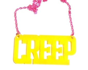 Bright Yellow CREEP Nameplate Acrylic Necklace with Hot Pink Chain