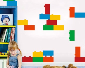 Lego Decals (20 Blocks)- Children Playroom Wall Stickers Kids Bedroom Wall  Removable Vinyl Decals-Designed by Anita Roll Anita-004