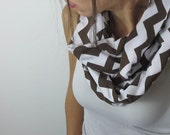 chevron infinity scarf. brown and white jersey zig zag stripes. Fashion accessory. trending must have style
