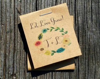 RUSTIC Cute Little Favors Floral Monogram Wreath Design Wildflower Seeds Let Love Grow Flower Seed Packet Favors Bridal Shower Wedding Party