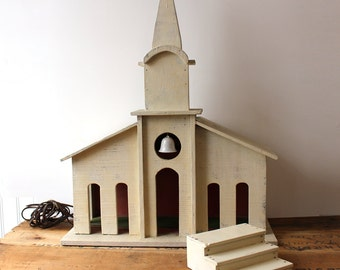 Vintage handmade wooden church - rustic ivory painted church with separate stairs - 1960s Christmas decor