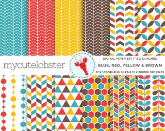 Blue, Red, Yellow, Brown Digital Paper - geometric paper, paper pack, assorted paper - personal use, small commercial use, instant download