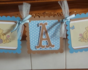 It's A Boy Banner, Classic Winnie The Pooh Baby Shower Banner, Pooh Boy Banner, Gender Reveal Banner, Blue and Brown Baby Banner