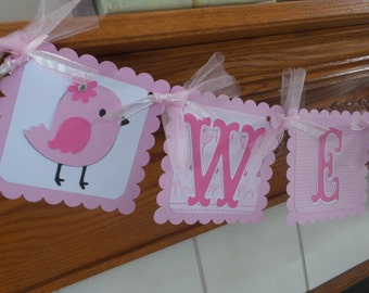Baby Shower Banner, Baby Birdie Banner, Princess Baby Shower Banner, Pink Baby Carriage New Baby Banner, Welcome Princess Banner