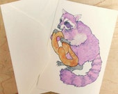 Raccoon Philly Pretzel 4x6 Notecard