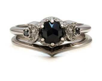 Crescent Moon Engagement Ring Set - 14k Palladium White Gold with Black Diamonds and Black Spinel or Black Diamond