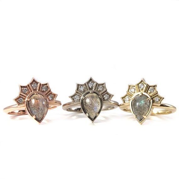 Labradorite Pear Gothic Crown Engagement Ring with Diamond Fan - 14k Rose, Yellow or Palladium White Gold - Modern Fine Jewelry