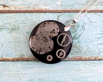 Steampunk resin pendant, Steampunk silver necklace, Round pendant, Watch Parts pendant, Watch parts necklace, silver brass pendant