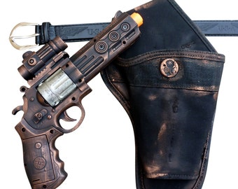 Steampunk cyber gothic toy gun-holster-belt pistol  gun laser LIGHT Victorian cosplay prop theatre COPPER tone Wholesale price