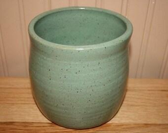 Sea green utensil holder, wine cooler, handmade pottery, brush holder
