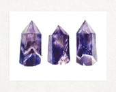 "Three Amethyst Points -  5"" x 7"" Watercolor Art Print"