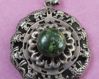 On Sale Vintage Mexican Sterling Aztec Pendant Signed Ballesteros