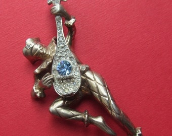 On Sale Harlequin Antique Minstrel Brooch Sterling Silver And Rhinestone Figural Pin Jewelry Circa 1940