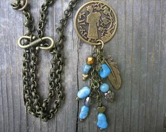 JAPANESE PENDANT TURQUOISE charms Arizona turquoise