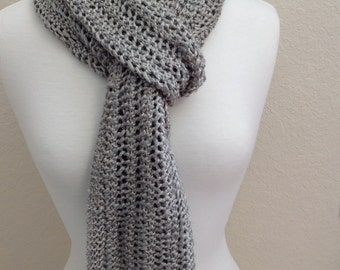 Luxurious Ladies Wool Scarf Hand Knit in Lace Stitch Silver Gray Shimmery 7 X 70
