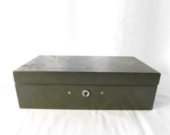 Vintage Army Green Metal File Box with Handle - Personalized with Dr's Name  - Box ii