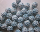 Blue and White Round Acrylic Beads 12mm 14 Beads