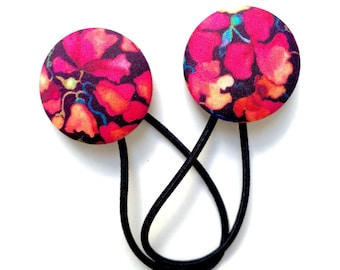 Liberty of London 2015 Hair Elastics Set - Pink Peas Modern Floral Covered Button Hair Ties