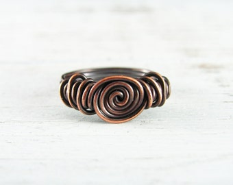 Wire Wrapped Ring Copper Ring Size 7.5 Wire Wrapped Jewelry Copper Wire Ring Knot Ring Custom Ring