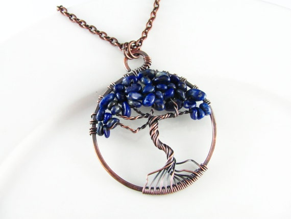 Wire Wrapped Pendant Tree Of Life Pendant Wire Wrapped Jewelry Copper Lapis Lazuli Necklace Tree of Life Necklace Copper Necklace