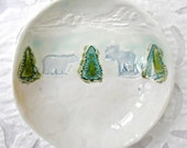 Polar Bear Dish, Wildlife ceramic bowl, hostess gift, Rustic Deocr, Polar Bear Decor, Moose Decor, Ring bowl, Ring dish, Holiday Decor