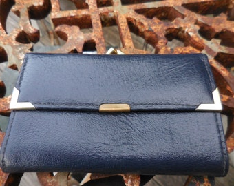 Vintage 1950s to 1970s Navy Blue Leather Women's/Ladies Wallet Kiss Lock Snap Shut Beige Inside Gold Tone Hardware