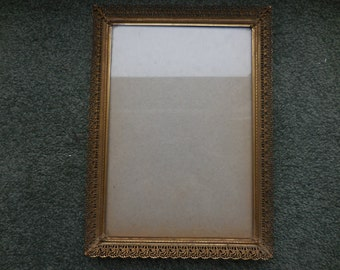 Vintage Gold Tone 1940s Filigree Picture/Photo Frame 7x10 Metal Self Standing or Hang Vertical Only