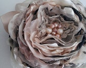 Large fabric flower in black champagne ivory Bridal accessory Flower headpiece Sash Bouquet Wedding accessory Wrist corsage