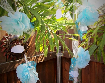 Flower garland beach wedding decor beach garland light blue paper flower backdrop beach nursery decor baby shower garland decoration