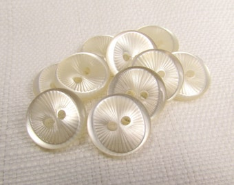 """Starburst Thumbprint: 5/8"""" (16mm) Off-White Round Buttons - Set of 10 Vintage New Old Stock Matching Buttons"""
